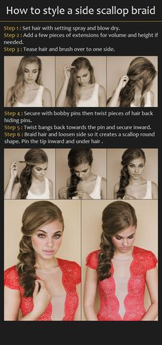 How to Style a Side Scallop Braid, really like this idea for the big day. Or any fancy occasion, really...