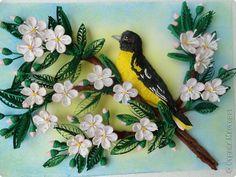 Quilled Bird on Branch