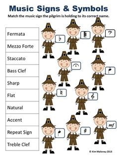 MUSIC THANKSGIVING WORKSHEETS 20 different worksheets: note and rest names, treble, alto and bass pitch and music signs and symbols!