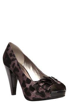 Quincy Black Leopard Bow Heels (Wide Width)