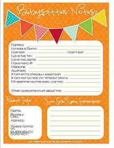 Babysitter Notes (plus other quote printables and cleaning chart)