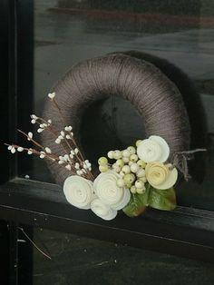 yarn + felt wreath