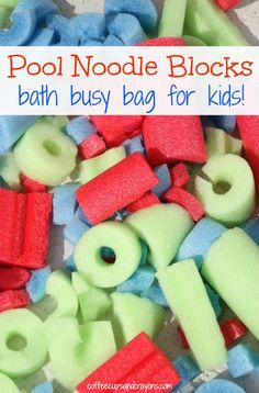 Pool Noodle Blocks! A simple busy bag for kids to build and create with in the bath, the pool, the house, or anywhere.  Great for travel!