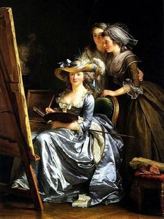 1749 Adelaide Labille-Guiard (French Neoclassical Painter, 1749-1803) Self Portrait with Two Students, Marie-Gabrielle Capet and Carreaux de Rosemond. 1785