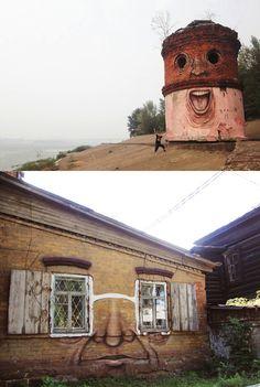 life is short... paint some happy faces:) tower, sculptur art, street art, buildings, decay build, eye