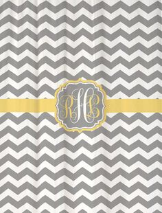 "Shower Curtain Cool Gray Chevron with Butter Yellow Accents 69x70""  Monogrammed Personalized Custom for Your Bathroom on Etsy, $72.00"