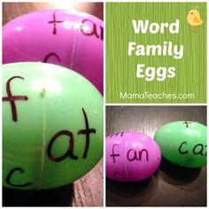 Word Family Eggs to teach word families - kindergarten craft activity