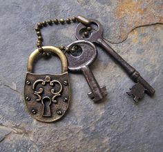 Image detail for -Vintage Skeleton Keys and Medieval Style Brass Lock