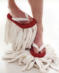 Mop flip-flops! love this. we just do socks sometimes and that's pretty fun