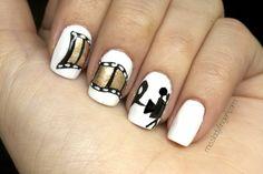 film strip, strip nail, nailart, golden globe, filmstrip, zooey deschanel, nails, nail style, nail art