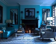The use of all the blues in this room give it a monochromatic color scheme.