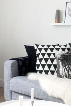 Via That Nordic Feeling | Geometric Pillow | Black White Grey
