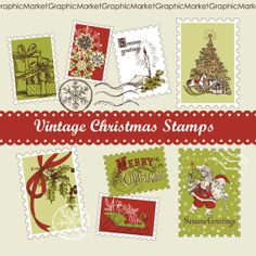 Christmas Vintage Stamps hand drawn clip art by GraphicMarket, $4.99