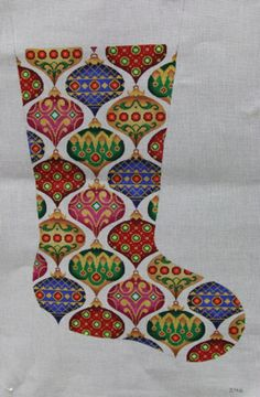 From:  A Collection of Designs, needlepoint Christmas ornament stocking