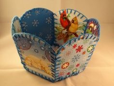▶ Recycled Christmas Card Basket -with yoyomax12 - YouTube