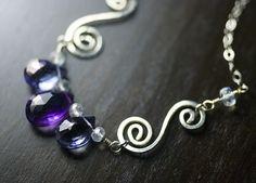 """Iris"" - Amethyst Gemstone Sterling Silver Necklace - Purple Amethyst, Mystic Blue Quartz, Rainbow Moonstone, February Birthstone - by Moss & Mist Jewelry by Moss & Mist Jewelry, via Flickr"
