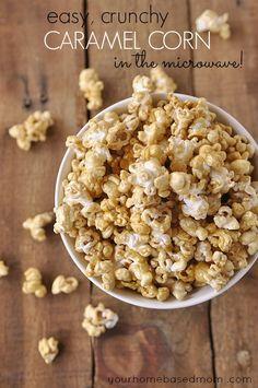 Easy Microwave Caramel Corn....ooo!  Fun fall snack or dessert :D