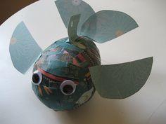 papier maché, papermach, art idea, paper mache, paper fish, papier mache, kid crafts, mach fish, fish craft