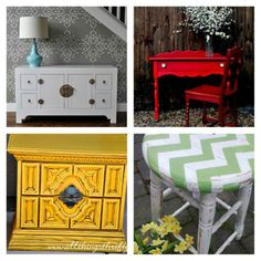 Fabulous painted furniture inspirations with links to great tutorials!