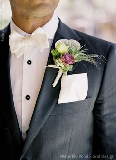 Boutonniere with a succulent echeveria rosette in the middle. Wedding Flowers: Waterlily Pond Floral and Event Design   Wedding Photographer: Tanja Lippert Photography