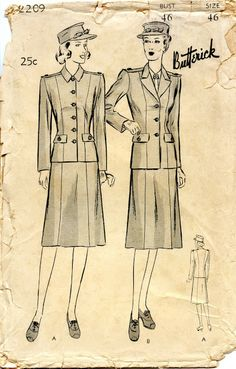 Unsung Sewing Patterns: Butterick 2209 - The American Red Cross Volunteer Special Service Outdoor Uniform