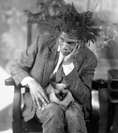 Jean-Michel Basquiat (& kitty!) by Gordon Parks