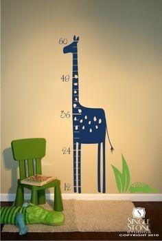 Wall Decal Growth Chart Giraffe - Nursery Vinyl Wall Decals Stickers Art