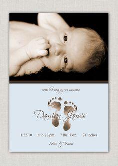#baby #boy #birth #announcement #photo #card #footprint #feet