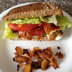 "Vegan ""BLT"" Sandwich - make bacon from coconut chips and maple syrup. Genius!"