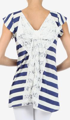 Navy & White Stripe Lace-Bow Angel-Sleeve Top