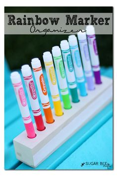 DIY rainbow marker holder organizer!