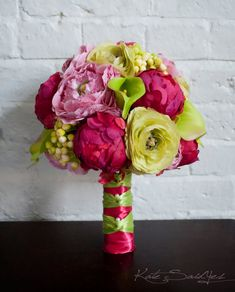 Fuchsia and Lime Peony Ranunculus and Calla Lily #wedding bouquet by @Kate Mazur Mazur Said Yes (Kate), www.katesaidyes.etsy.com