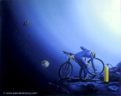 "OLYMPIC GAMES 2012, Aug 11th: Cycling Mountain Bike Women's cross country  pic: ""CREVÉ ENCORE!""  - flat tire again - oil on canvas by Pascal Lecocq, The Painter of Blue ®, 24"" x 30"" 60,96x76,2 cm, 2002, lec625, priv.coll. USA. © www.pascal-lecocq.com."