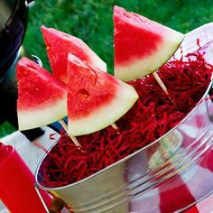 Put Styrofoam in the bottom, cover with strips of shredded paper, and present your watermelon for a Summer BBQ! stick, engagement parties, food, summer parties, barbecu, 4th of july, summer bbq, watermelon, parti idea