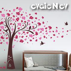Wall Decals - Cherry Blossom Tree Wall Decal with Birds - Wall Stickers - TRCB020R. $95,00, via Etsy.
