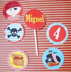 Tags para cupcakes Festa Pirata
