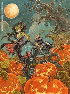 RobbVision    Paintings - Halloween Cat