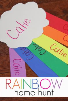 toddler approv, preschool name games, hunt, rainbow