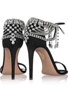 Olivia Palermo crystals embellished black suede high heels #sandals by Aquazzura.
