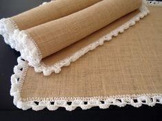 burlap and crochet placemats