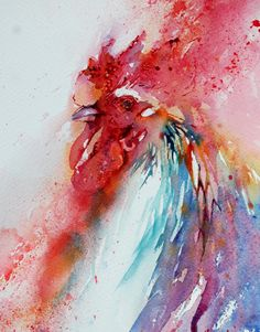 The Magic of Watercolour Painting Virtual Gallery - Jean Haines, Artist - Cockerels  My Favorite watercolorist!