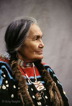 Native American woman Cecilia Bearchum, a tribal elder of the Umatilla ...