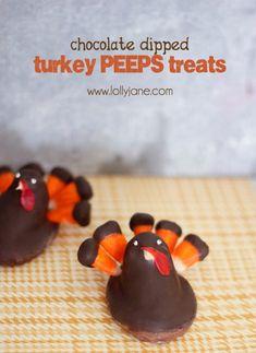 Cute chocolate dipped turkey PEEPS treats #thanksgiving
