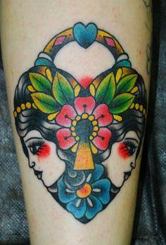 tattoo idea, color, candy skulls, tattoo artists, old school, locket, heart tattoos, ink, vintage style