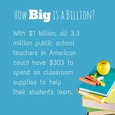 One billion dollars would buy over $300 in school supplies for every U.S. public school teacher. Show us YOUR students' $1 billion math and you could win $3,000 from @H&R Block
