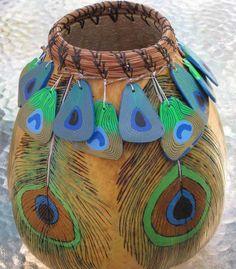 artgourd, peacock feathers, gourd art, gourds, gourd basket