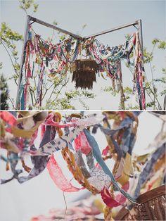 boho chic wedding ideas - fabric streamer  installation   photo by http://jackiewondersblog.com/
