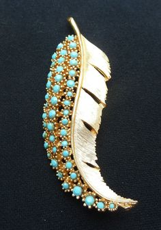 Sphynx Feather Brooch Pin Turquoise Glass by PattycatsTreasures, $18.00