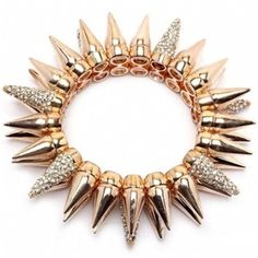 Double Row Gold Spike Bracelet