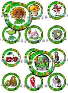 12 EDIBLE PLANTS vs ZOMBIES  - Cupcake Toppers - Cookie Toppers - Party Decorations Cake / Birthday Party - Wafer Paper Oreos. $6.25, via Etsy.